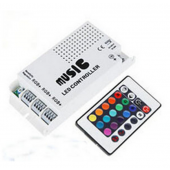12V RGB LED Music Controller With 24keys IR Sound Activated 3 Channels