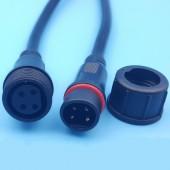 Waterproof 4 Core 0.5mm Black 20cm Wire LED Strip Connectors 5Sets